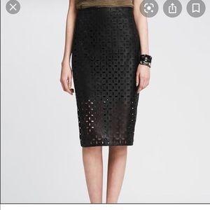 Banana Republic Faux Leather Laser Cut Skirt